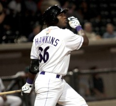 Courtney Hawkins hit a pair of long balls for the Dash this weekend to give him four already this year (Jody Stewart/W-S Dash).