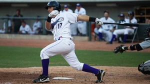 Rangel Ravelo is second in the Carolina League in batting average (Jody Stewart/W-S Dash).
