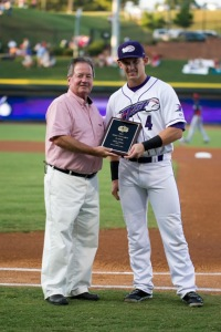 Chris Curley received his MVP award in the Dash's home finale August 30 (Jody Stewart/W-S Dash).