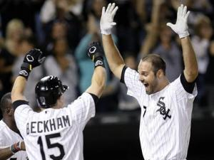 Former Dash star Jordan Danks (right) is ready to fill in for Avisail Garcia in the White Sox outfield (photo via chicagonow.com).