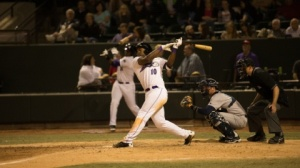 Courtney Hawkins leads the Carolina League in homers and RBIs (Jody Stewart/W-S Dash).
