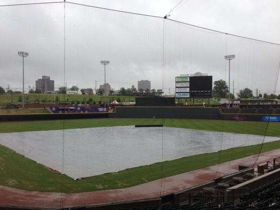 Tarp covers the field at BB&T Ballpark on Thursday, May 15.
