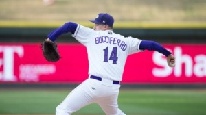 Tony Bucciferro came within two outs of a no-hitter at Frederick on Sunday. (Jody Stewart/W-S Dash)
