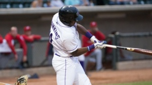 Courtney Hawkins ranks second in the Carolina League in RBI. (Jody Stewart/W-S Dash)