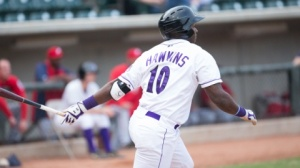 Courtney Hawkins delivered his Carolina League-leading 83rd RBI on Friday. (Jody Stewart/W-S Dash)