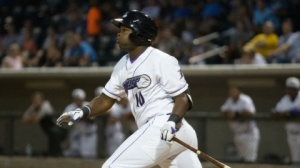 Courtney Hawkins ranks second in the Carolina League in home runs. (Jody Stewart/W-S Dash)
