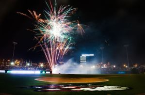 A record crowd of 8,184 enjoyed postgame fireworks on July 4 (Photo via Andrew Dye/Winston-Salem Journal).