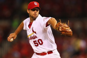 Adam Wainwright was traded to the Cardinals on the same day he got engaged. (Dilip Vishwanat/Getty Images)