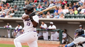 Winston-Salem native Chris Jacobs swatted his first home run of the year Wednesday in the Dash's 6-3 win (Jody Stewart/W-S Dash).
