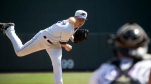 James Dykstra owns the second-best ERA in the Carolina League (Jody Stewart/W-S Dash).