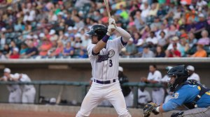 Jake Peter's first homer of the season Saturday broke an eighth-inning tie. (Jody Stewart/W-S Dash)