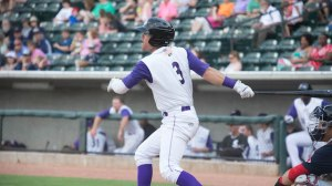 Jake Peter extended his hitting streak to 20 games Wednesday with a first-inning home run. (Jody Stewart/W-S Dash)