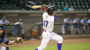 Toby Thomas launched a two-run homer Tuesday against Myrtle Beach. (Jody Stewart/W-S Dash)