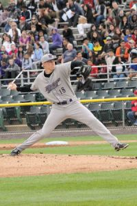 James Dykstra works during his no-hitter on April 15 at Potomac (Photo via Tracy E. Mackereth)