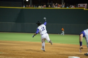 Omar Narvaez celebrates his walk-off hit on July 4 at BB&T Ballpark (Jody Stewart/W-S Dash).